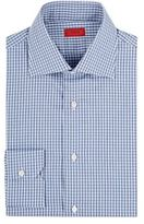 Isaia Men's Gingham Cotton Poplin Shirt-NAVY, LIGHT BLUE