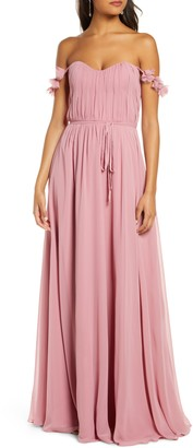 Marchesa Petal Strap Chiffon Bridesmaid Gown