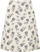 Tory Burch Wrap-effect linen-blend floral-jacquard skirt