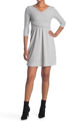 Vanity Room Quarter Sleeve Knit Overlap Rib Dress
