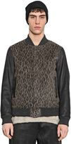 08sircus 08 Sircus Nappa Leather & Wool Blend Bomber Jacket