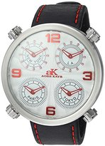 Adee Kaye Men's Quartz Stainless Steel and Leather Dress Watch, Color:Black (Model: AK2275-MSV)