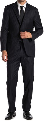 Hickey Freeman Black Pinstripe Two Button Notch Lapel Suit