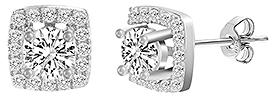Bliss Sterling Silver & Cubic Zirconia Halo Stud Earrings