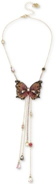 """Betsey Johnson Gold-Tone Bead & Butterfly 16"""" Lariat Necklace"""