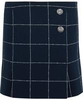 Balenciaga Checked Wool-blend Crepe Mini Skirt - Navy