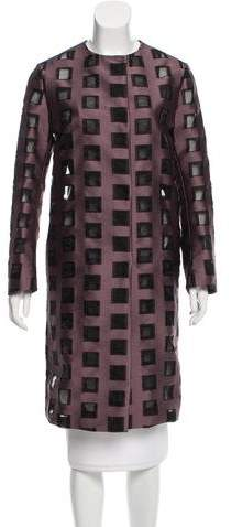 Mantu Jacquard Collarless Overcoat w/ Tags