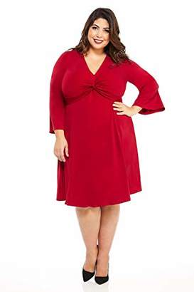 London Times Women's Plus Size Long Sleeve Twist Front Crepe FIT and Flare Dress
