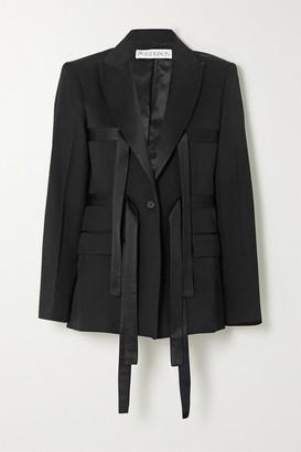 J.W.Anderson Satin-trimmed Wool-twill Blazer - Black