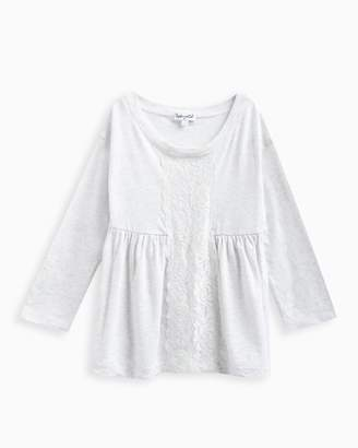 Splendid Little Girl Long Sleeve Top with Lace Insert