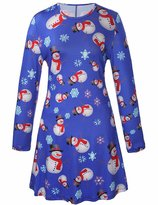 RUIYIGE Women Long Sleeves Snowman Christmas Xmas Gifts Print Flared Swing Dress Top XL