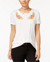 Doe Juniors' Flower Lace-Up Graphic T-Shirt
