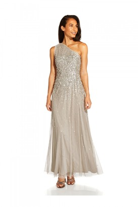 Adrianna Papell One Shoulder Beaded Gown