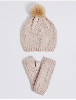 M&S Collection Knitted Hat & Gloves Set