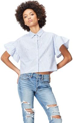 Find. Amazon Brand Women's Women's Shirt in Box Shape With Short Sleeve Frill Trim Short Sleeve Shirt