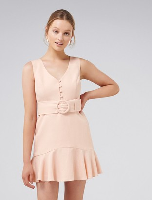 Forever New Pauline Petite Flippy Hem Dress - Nude/Pink - 4
