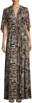 Rachel Pally Cape-Sleeve Printed Caftan Maxi Dress, Etch Print