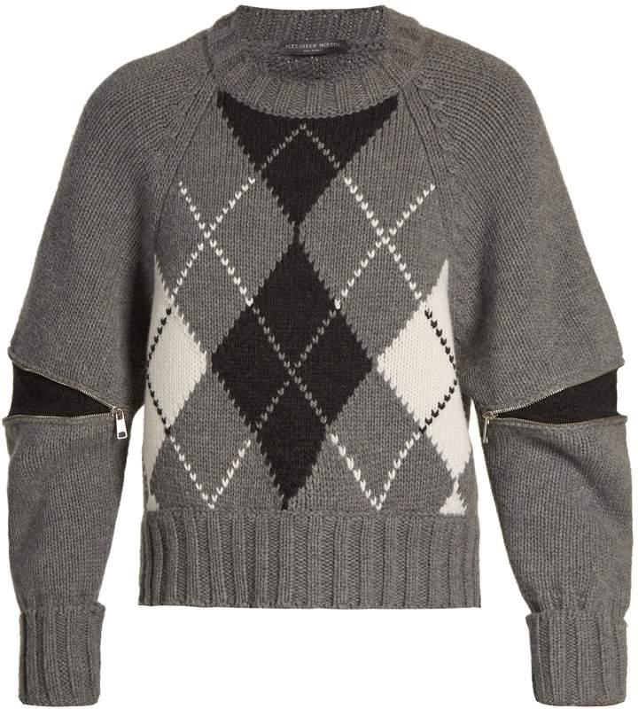 Alexander McQueen Zipped-sleeve argyle-knit wool sweater