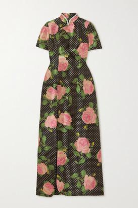 Richard Quinn Crystal-embellished Floral-print Taffeta Maxi Dress - Pink