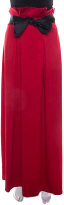 Carolina Herrera Red Silk Satin Contrast Belted Paper Bag Waist Maxi Skirt L