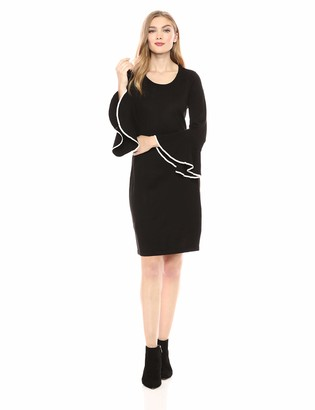 Calvin Klein Women's Cascading Bell Sleeve Sweater Dress with Contrast Piping