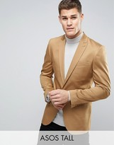 Asos TALL Skinny Blazer in Stone Cotton Sateen