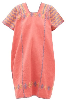 Pippa No.179 Embroidered Cotton Kaftan - Pink Multi