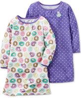 Carter's Girls' or Little Girls' 2-Pk. Donut-Print & Heart-Print Nightgown Set