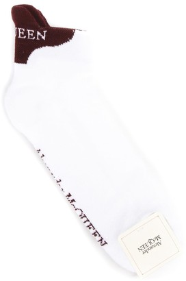 Alexander McQueen Logoed White & Burgundy Cotton Blend Socks