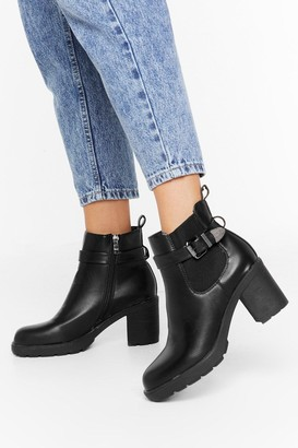 Nasty Gal Womens Strapped in Faux Leather Buckle Boots - Black