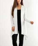 Ivory & Gray Metallic Hooded Cardigan