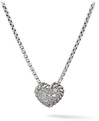 David Yurman Chatelaine Heart Pendant with Diamonds on Chain