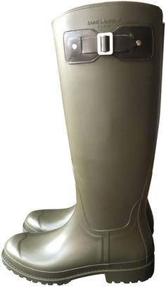 Saint Laurent Green Rubber Boots