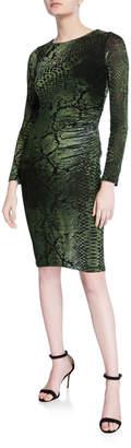 Fuzzi Python-Printed Long-Sleeve Fitted Velvet Dress