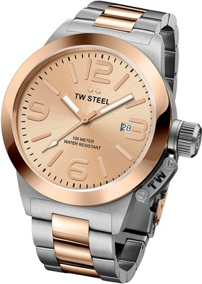 TW Steel 'Canteen' Quartz Gold and Stainless Watch Color:Two Tone (Model: CB404)