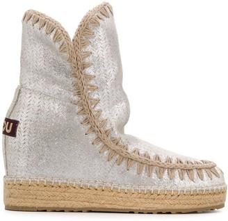 Mou Metallic Wedge Heel Boots