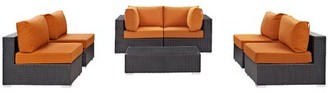 Brentwood 7 Piece Rattan Sectional Seating Group with Cushions Sol 72 Outdoor Fabric: Orange