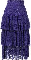 Bambah layered midi skirt