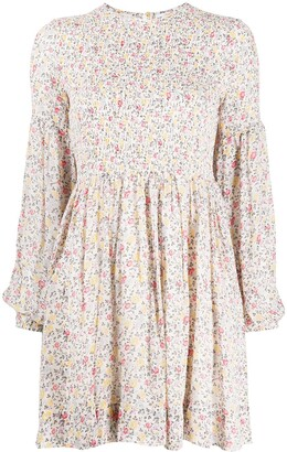 Ganni Floral Print Smocked Mini Dress