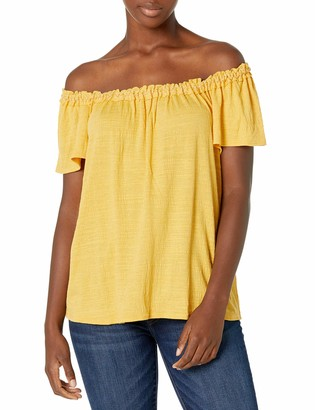 Max Studio Women's On/Off Shoulder Cap Sleeve Crinkled Knit Jersey Top with Tonal Stitch