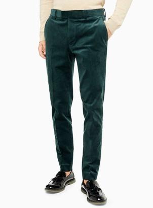 Topman Green Corduroy Skinny Fit Suit Trousers