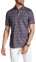 Jeremiah Paddle Print Linen Blend Short Sleeve Shirt