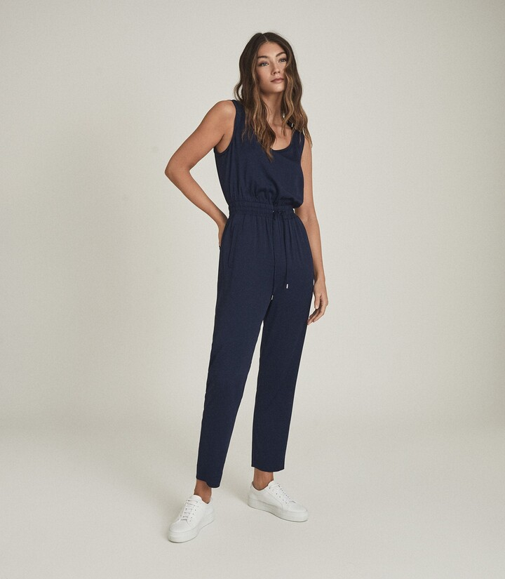 Thumbnail for your product : Reiss Kat - Casual Straight Leg Jumpsuit in Navy