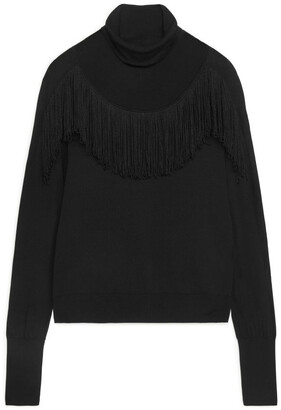 Arket Fringed Roll-Neck Jumper