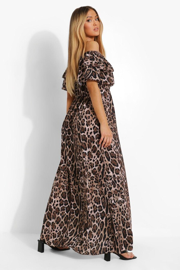 Thumbnail for your product : boohoo Leopard Bardot Double Layer Maxi Dress
