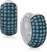 Macy's Manufactured Turquoise Huggie Hoop Earrings in Sterling Silver