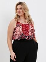 Evans Red Floral Print Vest