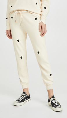 The Great The Cropped Sweat Pants with Heart Embroidery