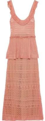 Alberta Ferretti Ruffle-trimmed Crochet-knit Peplum Maxi Dress