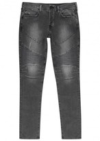True Religion Rocco Grey Straight-leg Biker Jeans